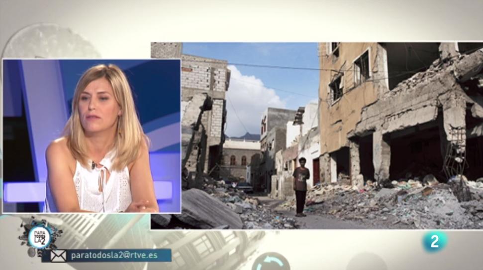 Judith Prat hablando de Yemen en Para todos la 2: Periodismo solidario