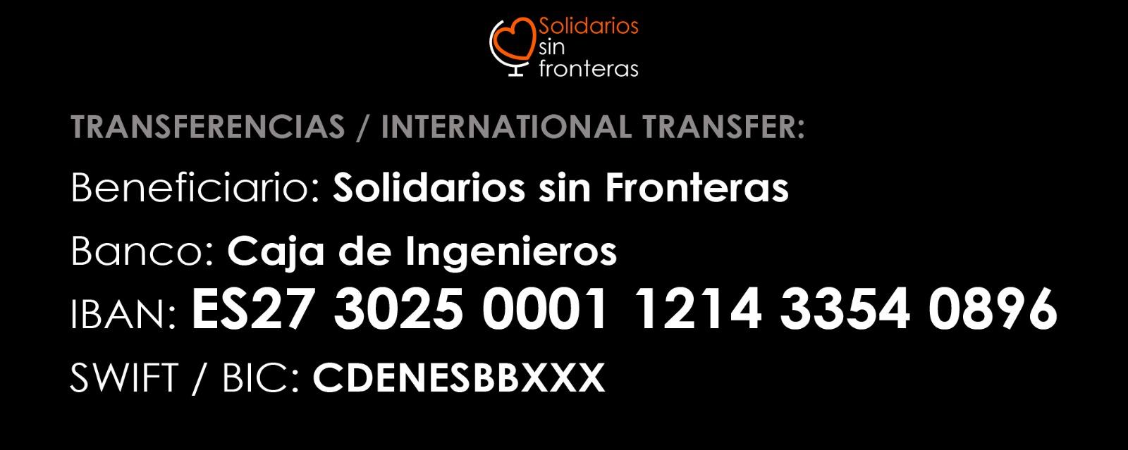 Haz tu donación a Solidarios Sin Fronteras